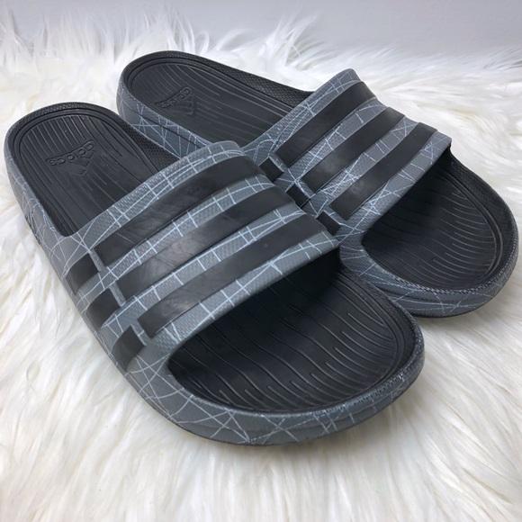 adidas Shoes - Adidas 3 stripe grey and black slides 7bfc03930c